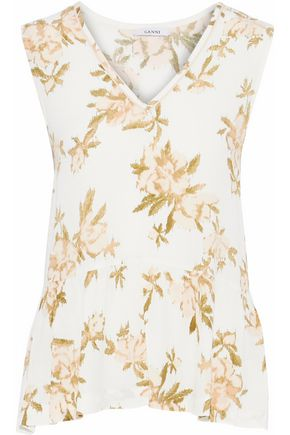 GANNI Gathered printed crepe top