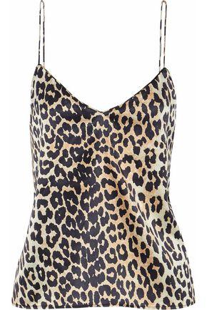 GANNI Leopard-print silk-blend top