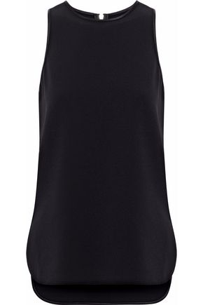 ALEXANDER WANG Satin-trimmed cutout crepe top