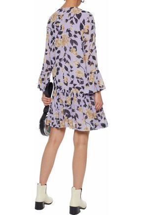 GANNI Carlton gathered floral-print georgette dress