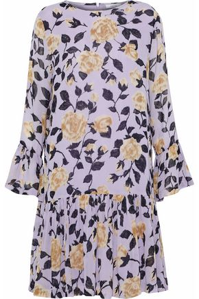 GANNI Carlton gathered floral-print georgette dress
