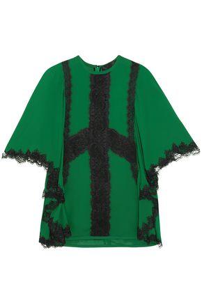 ELIE SAAB Tie-back lace-trimmed crepe blouse
