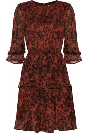 GANNI Shirred floral-print georgette mini dress