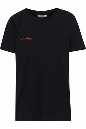 GANNI Embroidered jersey T-shirt