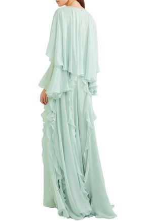 GIAMBATTISTA VALLI Cape-effect bow-embellished ruffled silk-chiffon gown