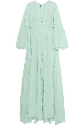 GIAMBATTISTA VALLI Cape-effect bow-embellished ruffled silk-chiffon gown