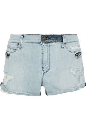 RTA Zip-embellished distressed denim shorts