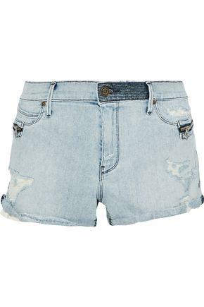 RTA Zip-embellished distressed denim shorts