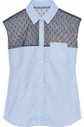 REDValentino Point d'esprit-paneled flocked cotton Oxford shirt