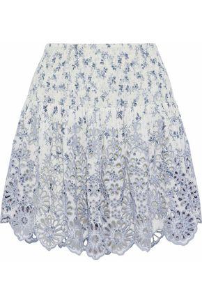 GANNI Emile printed broderie anglaise mini skirt