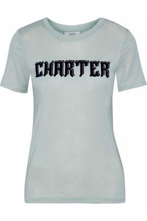 GANNI Printed slub jersey T-shirt