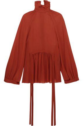 ANN DEMEULEMEESTER Ruffled chiffon turtleneck blouse