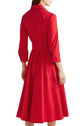 MICHAEL KORS COLLECTION Cotton-blend poplin midi wrap dress