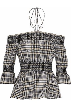 GANNI Charron off-the-shoulder checked cotton-blend poplin top