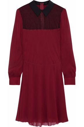REDValentino Point d'esprit-paneled silk-blend chiffon mini dress