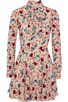 REDValentino Pussy-bow floral-print silk crepe de chine mini dress