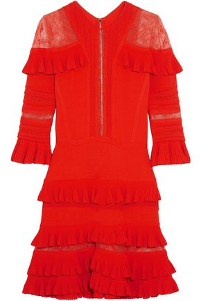 ELIE SAAB Chantilly lace-paneled ruffled stretch-knit mini dress