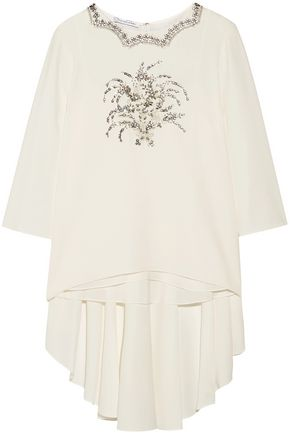 OSCAR DE LA RENTA Embellished silk-blend top