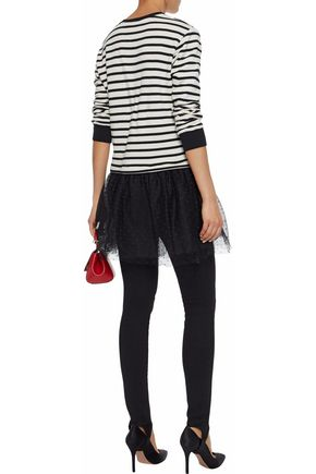 REDValentino Point d'esprit-paneled striped jersey cotton-blend mini dress