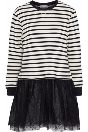 REDValentino Point d'esprit-paneled striped jersey cotton-blend mini dress