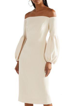 LELA ROSE Off-the-shoulder wool-blend crepe midi dress