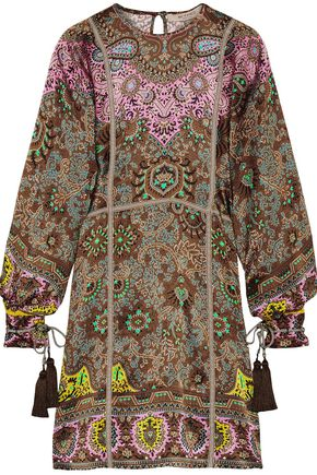 ETRO Grosgrain-trimmed printed silk-faille mini dress