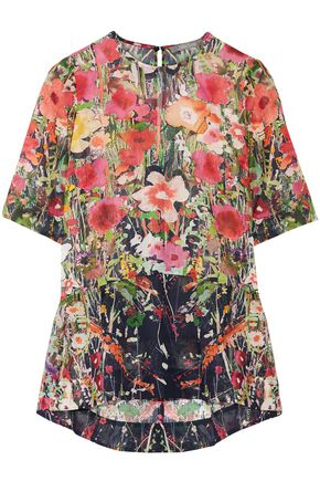 LELA ROSE Floral-print cotton-voile top