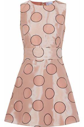 REDValentino Flared polka-dot duchesse-satin mini dress