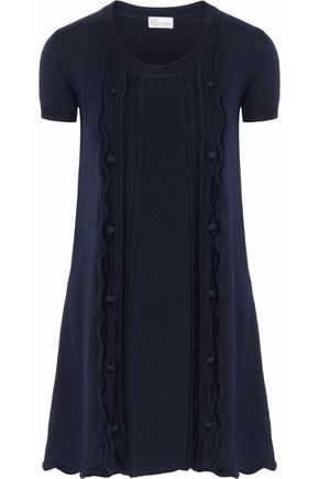 REDValentino Fluted cable-knit wool mini dress