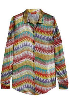 MISSONI Metallic crochet-knit silk-blend shirt