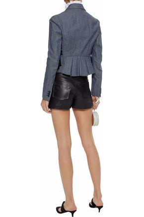 REDValentino Buckled leather shorts
