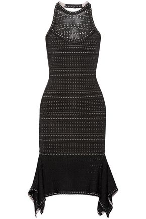 HERVÉ LÉGER Halle cutout bandage and pointelle-knit dress