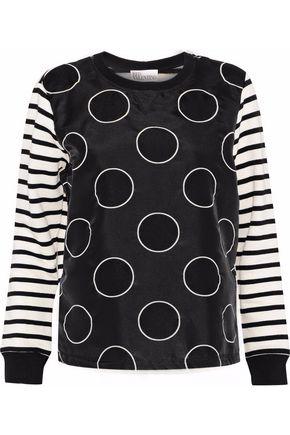 REDValentino Polka-dot satin-paneled striped cotton-blend jersey top