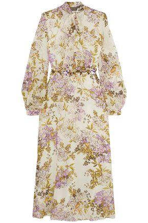 GIAMBATTISTA VALLI Embellished floral-print silk crepe de chine midi dress