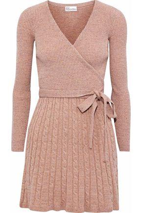 REDValentino Wrap-effect metallic wool-blend mini dress