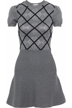 REDValentino Lace-trimmed knitted wool mini dress