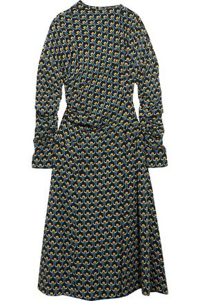 MARNI Gathered printed silk-crepe midi dress