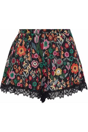 Crochet Trimmed Floral Print Silk Georgette Shorts by Red Valentino