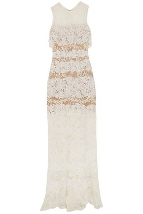 ELIE SAAB Layered cotton-blend lace gown