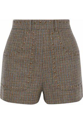 REDValentino Eyelet-embellished houndstooth wool shorts