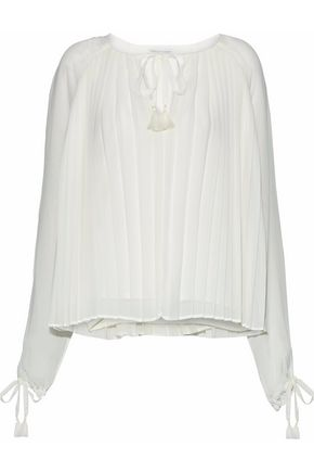REBECCA MINKOFF Dazy pleated chiffon blouse