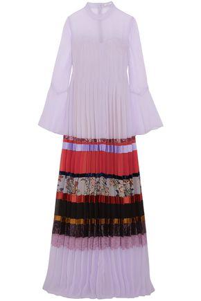 ERDEM Edina paneled pleated chiffon gown