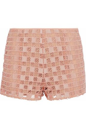 REDValentino Silk organza-paneled guipure lace shorts