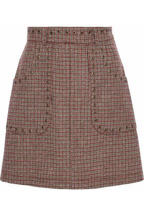 REDValentino Eyelet-embellished wool-tweed mini skirt