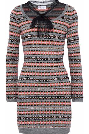 REDValentino Point d'esprit-paneled intarsia wool mini dress