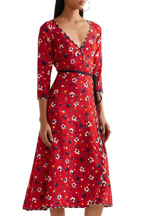 MARC JACOBS Floral silk-jacquard midi wrap dress
