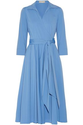 MICHAEL KORS | Michael Kors Collection Cotton-Blend Poplin Midi Wrap Dress | Goxip