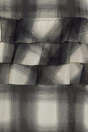 REDValentino Ruffle-trimmed checked chiffon maxi dress