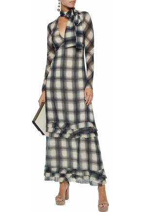 REDValentino Ruffle-trimmed checked chiffon maxi dress