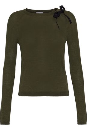 REDValentino Cutout grosgrain-trimmed wool-blend sweater